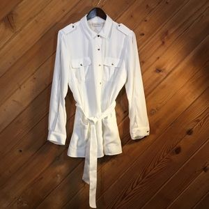 Chico's Size 2 White Tunic w/ gold buttons
